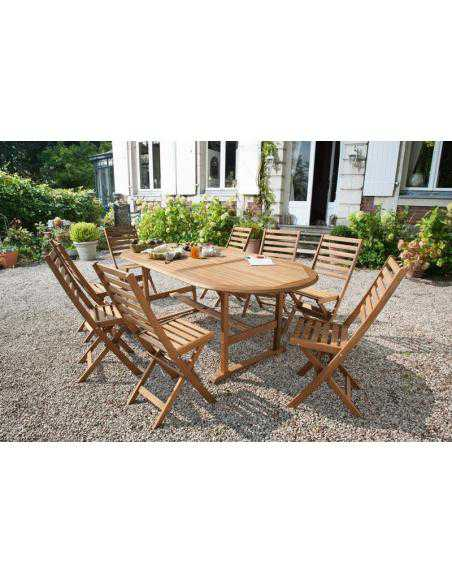 STE ACCACIA TABLE+8 CHAISES