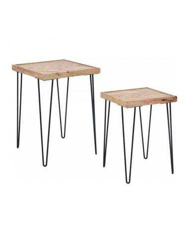 SET 2 TABLES EN BOIS DE MANGUE