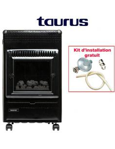FARO Chauffage à gaz Imitation du bois Taurus